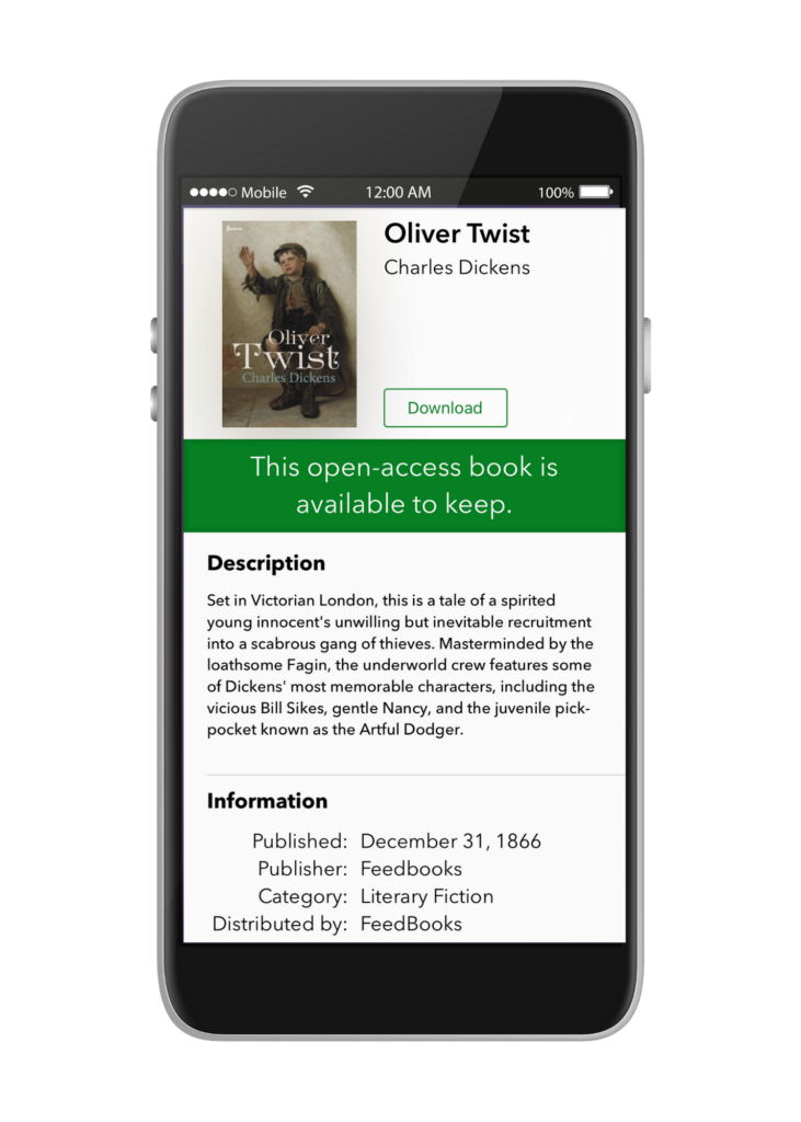title page view of Oliver Twist on phone